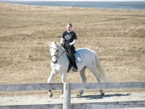 Ilustre and I enjoy a ride on the 1/2 mile race track at Dover Stables